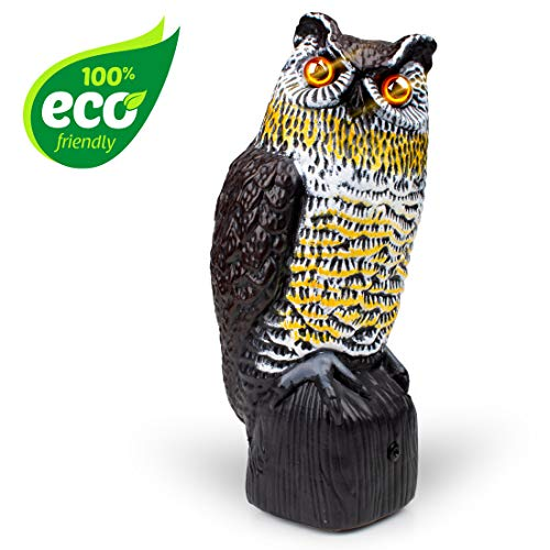 Owl Decoy Bird Deterrent - Scarecrow Fake Owls to Keep Birds Away and Bird Control Garden Owl w/ Solar Powered Owl Eyes and Noise to Scare Birds (Owl Scare Birds)