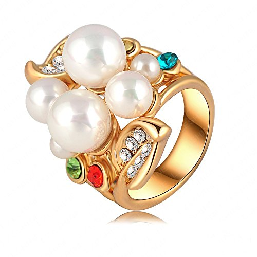 3 Stone Multi Colored Ring - LuckyWeng Large White Pearl Faux Multi Colored Gemstone Stone Branch Leaf Band Rings Girl 18k Yellow Gold