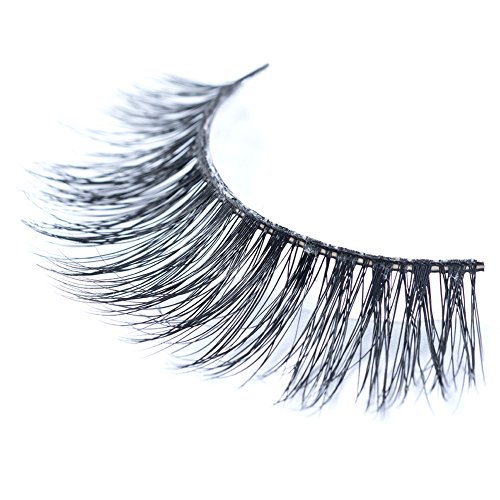 BELASH Mink 3D False Eyelashes with Handmade 100% Siberian Mink Fur of 13 mm, Thick Cross of Mink 3D False Lashes Strip for Natural Looking and Reusable - 3 Pair