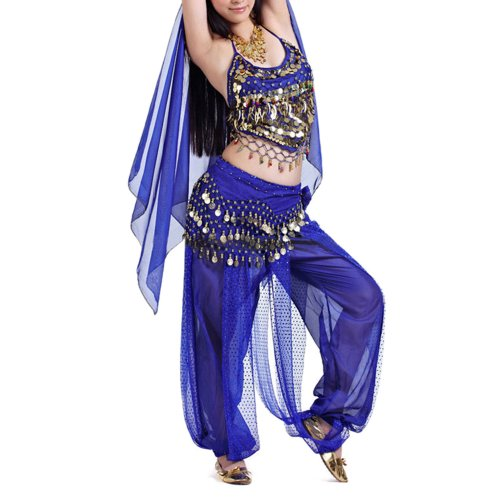 BellyLady Egyptian Belly Dance Costume, Halter Bra Top and Tribal Harem Pants NAVYBLUE - Harem Pants Dance Costume