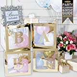 Baby Shower Decorations and Gender Reveal Party Supplies - (52 Piece Premium Kit) Gold Baby Balloon Letter Blocks for Girl and for Boy with Balloons Included