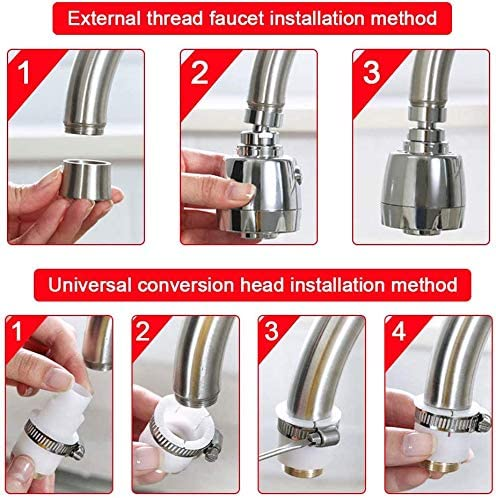 ASEDRF 360/° Water Swivel Faucet,Tap Aerator Swivel,Splash-Proof Faucet Splash Head for Bathroom Kitchen Tap Nozzle Filter,with Complete Accessories