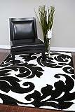 3459 Black White Damask 5'2 x 7'2 Modern Abstract