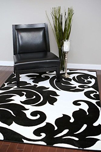3459 Black White Damask 5'2 x 7'2 Modern Abstract Area Rug Carpet