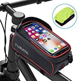 TURATA Bike Bags Bicycle Front Frame Bag Waterproof Handlebar Cycling Top Tube Pannier Touch Screen Sun Visor Large Capacity Mobile Phone Holder Fits Phones Below 6.5 Inches (Red)