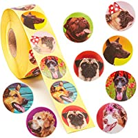 Dog Stickers - 1000-Count Dog Roll Sticker, 8 Cute Designs, Round Adhesives, Party Favor Stickers, Classroom Reward Stickers for Kids, Craft Stickers, 1.5 Inch Diameter Round Labels