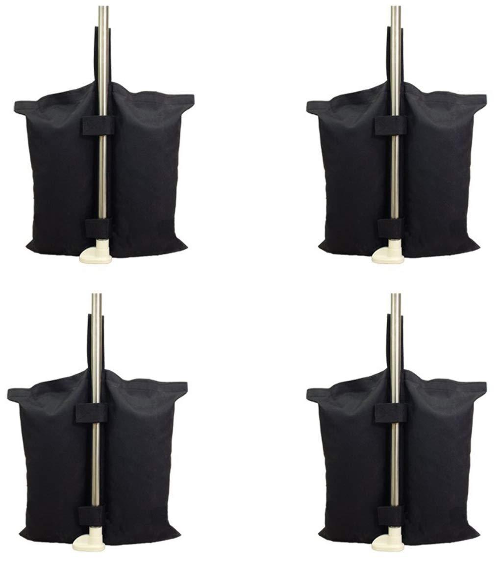 4 pezzi sacchi sacco riempibile antivento base basamento supporto sostegno universale riempibile in textilene nero antistrappo con zip e 2 fasce a strappo per tutti i gazebo su palo gambe SF SAVINO FILIPPO