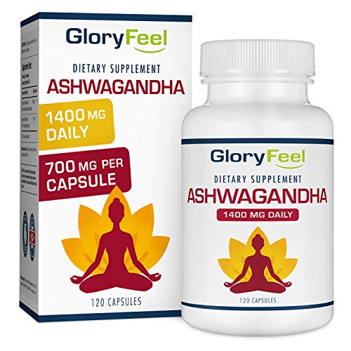 Ashwagandha 1400mg Made with Organic Ashwagandha Root Powder & Black Pepper Extract - 120 Capsules. 100% Pure Ashwagandha Supplement for Stress Relief, Anti-Anxiety & Adrenal, Mood & Thyroid Support