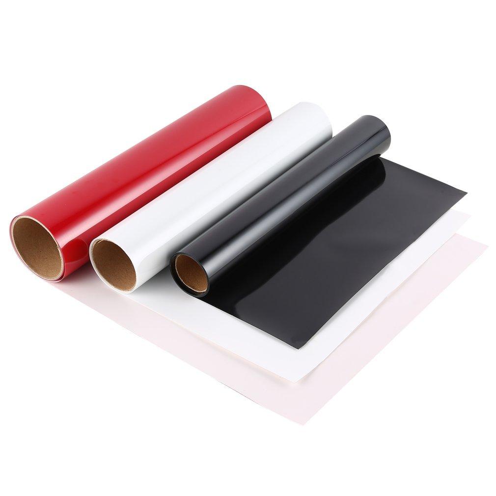 Set di 3 carte transfer, vinile a trasferimento termico per magliette, tazze, tappetino per mouse, rompicapo, ceramica, vetro; 30,5 * 152 cm, rosso, bianco e nero HOBFU