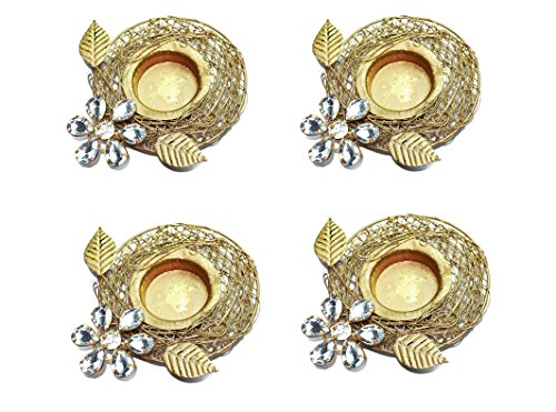 Set of 4 pc Diwali Diya Gift/Decoration Beautiful Candle Tea Light Holder with White Stones in Random Foil Paint. Diwali Diya Oil lamp/Christmas Decoration.Indian Gift Items