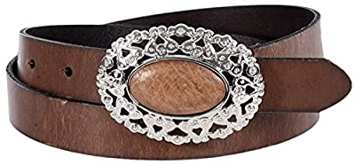 "Sunny Belt Women's 1"" Wide Leather Belt with Jewel Encrusted Silver Oval Buckle"