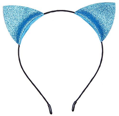 SUIEK Cat Ears Halloween Headband Antlers Reindeer Christmas Holiday Party Costume (Sky Blue - Cat (Blue Cat Ears)