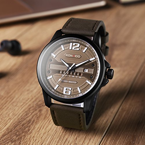 KONXIDO Men's Business Quartz Watch, Casual Fashion Analog Wrist watch Classic Date and Week Window, Waterproof 30M Water Resistant Comfortable Genuine Leather Strap Watches Coffee by KONXIDO (Image #6)