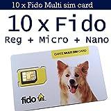10 x Fido Multi sim card format ( Regular + Micro + Nano ) 3G 4G LTE Canada