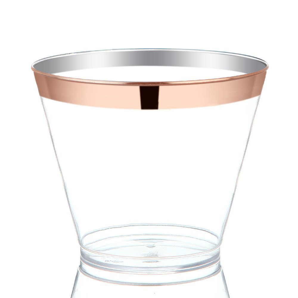 Rose Gold Rimmed Clear Hard Plastic Cups Disposable Tumblers 9 oz 50 Pack