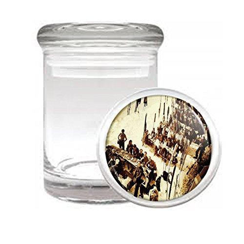 "Medical Glass Stash Jar Vintage Retro Skiing Skis Skier S32 Air Tight Lid 3"" x 2"" Small Storage Herbs & Spices"