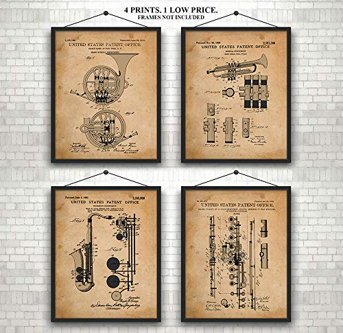 Original Musical Instrument Patent Prints 1908-1951 - Awesome Set of 4 - A Great Gift for Musicians, Band Members or A Practice Room Wall - Art Wall Decor - 8 x 10 ()