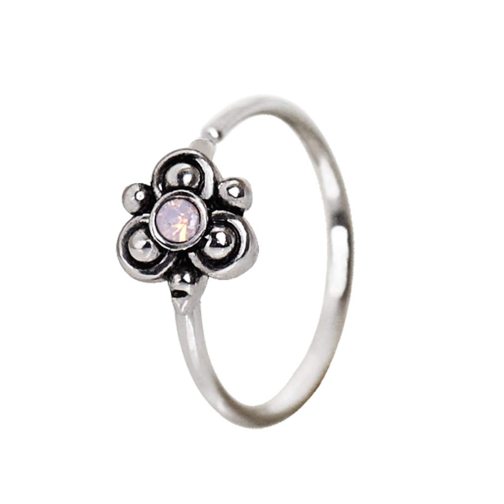 Ornate Swirl,Aqua Flower and Pink Ornate Flower Design Nose Hoop//Cartilage Earrings 20GA 5//16 PIERCE ME 3pcs