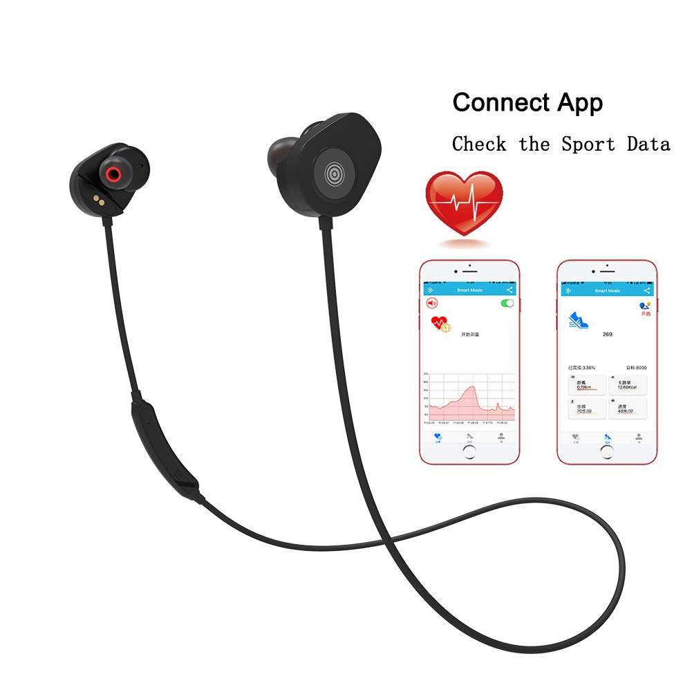 Wireless Earphones Bluetooth Headphone Sport Built in Heart Rate Monitor Waterproof Mic for Android IOS (BLACK)