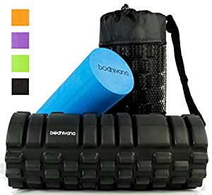 Bodhivana 2-in-1 Therapy Massage Foam Rollers for Muscles with Travel Bag, Instructional Video and 2 E-Books - Black