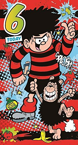 Amazon Beano Dennis The Menace Gnasher Age 6 6th Birthday Card