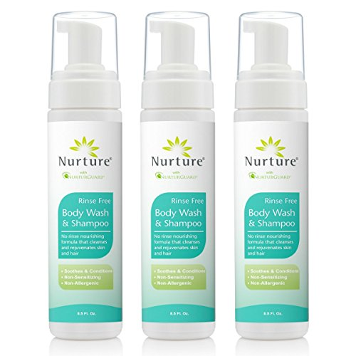- No Rinse Body Wash & Shampoo by Nurture | Hospital Grade Full Hair & Body Cleansing Foam with Aloe Vera - Non Allergenic - Non Sensitizing - Rinse Free Wipe Away Foaming Cleanser - 3 Bottles