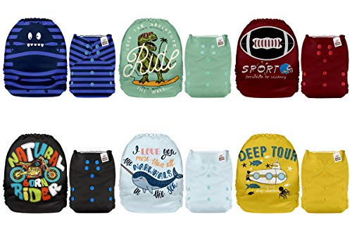 Mama Koala One Size Baby Washable Reusable Pocket Cloth Diapers, 6 Pack with 12 Bamboo Inserts (Energetic)