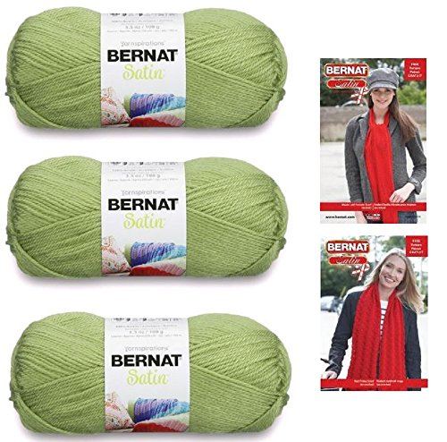 Bernat Satin Med (4) Weight Yarn, 3.5 Oz Fern (3-Pack) With 2 Satin Patterns (Acrylic Satin Yarn)