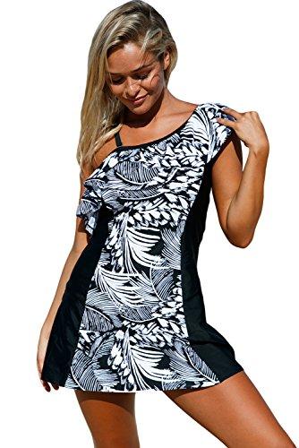 Lady Swain Women's Ruffle One Shoulder Swimsuit Jungle Swim Dress With Shorts (XXL, Monochrome) (Dress Ruffle Swim)