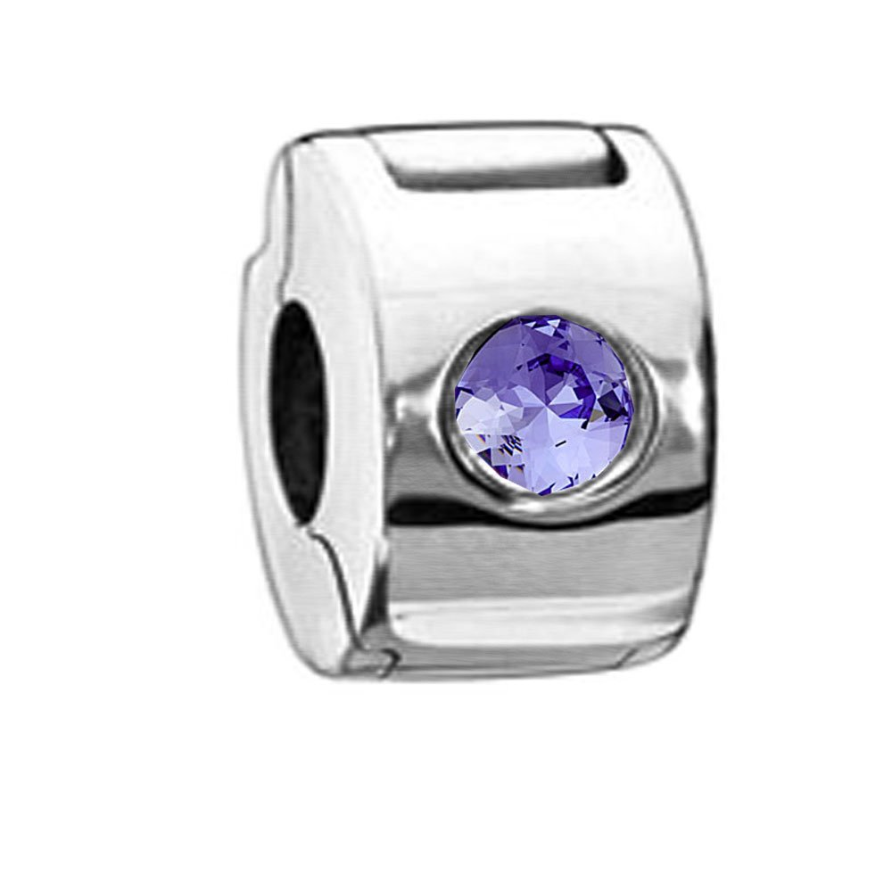 Sterling Silver Stopper Lock Bead Charm Silicon Insert with Purple Swarovski Crystal