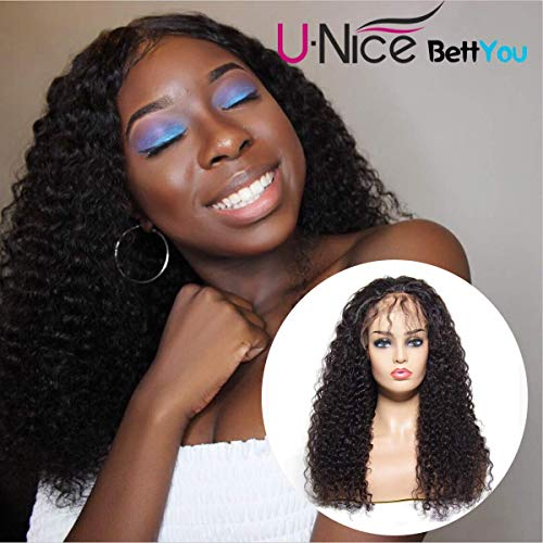 UNice Hair Bettyou Series Brazilian Curly Lace Front Human Hair Wigs for Women 100% Unprocessed Human Virgin Hair Wig 130% Density Pre Plucked With Baby Hair (14inch)