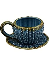 """Blue Sky Ceramic Urchin Tied Cup and Saucer, 5"""" x 4.5"""" x 3"""", Blue"""