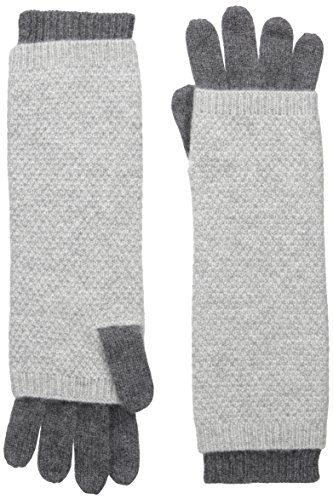 Sofia Cashmere Women's Moss Stitch Twofer Long Gloves, Castlerock Grey/Drizzle Grey, One Size