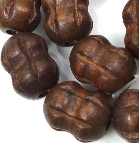 (1 Strand of Coconut Brown Wood Carved Peanut/Drum Barrel Beads)