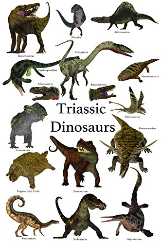 Poster of prehistoric dinosaurs and reptiles during the Triassic period Poster Print by Corey FordStocktrek Images (11 x 17) (Dinosaurs Triassic Period)