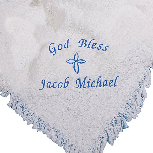 less Personalized White Afghan Blanket for Baby Boy, 36x48 ()