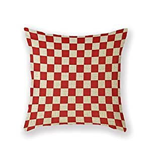 B Lyster shop Red And White Red Kitchen Checked yyp179 Cotton & Polyester Soft Zippered Cushion Throw Case Pillow Case Cover