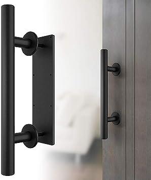 Tirador para puerta de granero de acero inoxidable, tirador para puerta corredera con apertura de hilo con diseño rústico sobre dos lados para puerta de cocina, muebles, armario, cajón, color negro: Amazon.es: