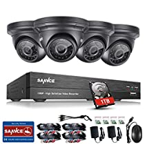 SANNCE 4-Channel HD-TVI 1080P Video Security System DVR Decorder with 1 TB Surveillance Hard Drive and (4)HD 1920TVL 2.0 MP Indoor/Outdoor Weatherproof CCTV Cameras