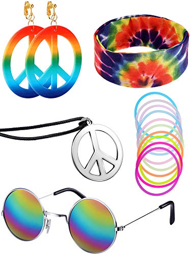Tye Dye Peace Sign (5 Pieces Hippie Costume Set,Sunglasses Peace Sign Necklace Earrings Dye Headband Bandana Colorful Bracelets for 70s Hippie)