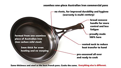 AUS-ION Skillet, 10.2'' (26cm), Smooth Finish, 100% Made in Sydney, 3mm Australian Iron, Professional Grade Cookware by SolidTeknics (Image #2)