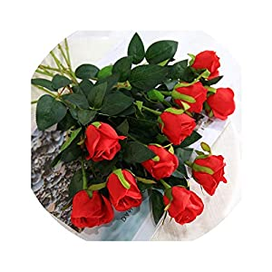 Lucky-fairy 48Cm Length 11 Pieces Red Purple Artificial Rose Flower Wedding Decoration Chencheng, Color14,Russian Federation 25