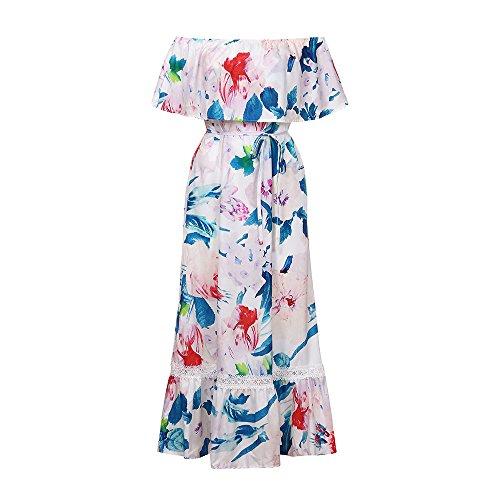 WINWINTOM Rockabilly Kleider Damen,Rockabilly Blumenmuster Festliche  Sommerkleid,Frauen Maxi Long Off Schulter Blumendruck 96082555d7