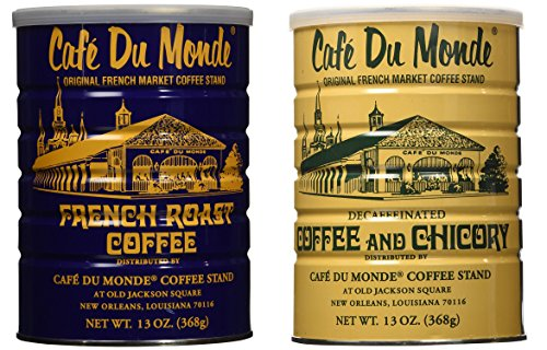 Cafe Du Monde French Roast Coffee and Decaf Blend Bundle. New Orleans Coffee Bundle Includes One 13 ounce French Roast Coffee And One 13 Ounce Decaffeinated