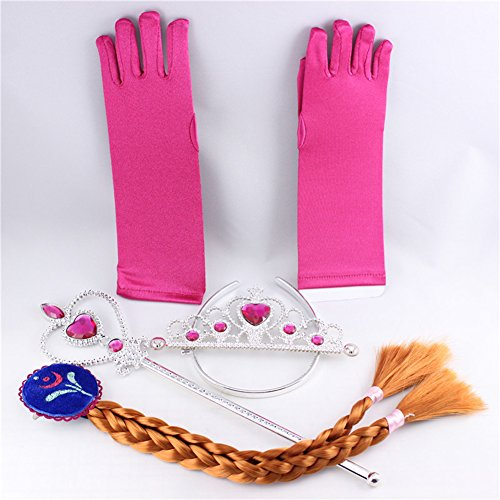 Lanlan 4 Pcs Rose Red Kids Costumes Accessories Princess Role Play Crown Tiara Headband Wig Short Finger Gloves For Girl Holiday Dress Gift Environmental Protection Material Rose Band Tea Setting