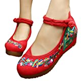 Qhome Women's Embroidery Flower Casual Oxfords Sole Party Dress Shoes