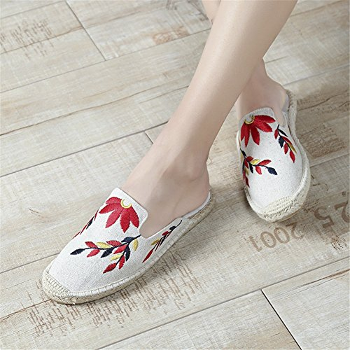 New Top lino Girl Mujer Mocasines 2018 Flat Respirable Low Beige de Fashion Soles Zapatillas TAx6qqw5