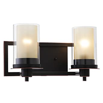 Designers impressions juno oil rubbed bronze 2 light wall sconce designers impressions juno oil rubbed bronze 2 light wall sconce bathroom fixture with amber and aloadofball