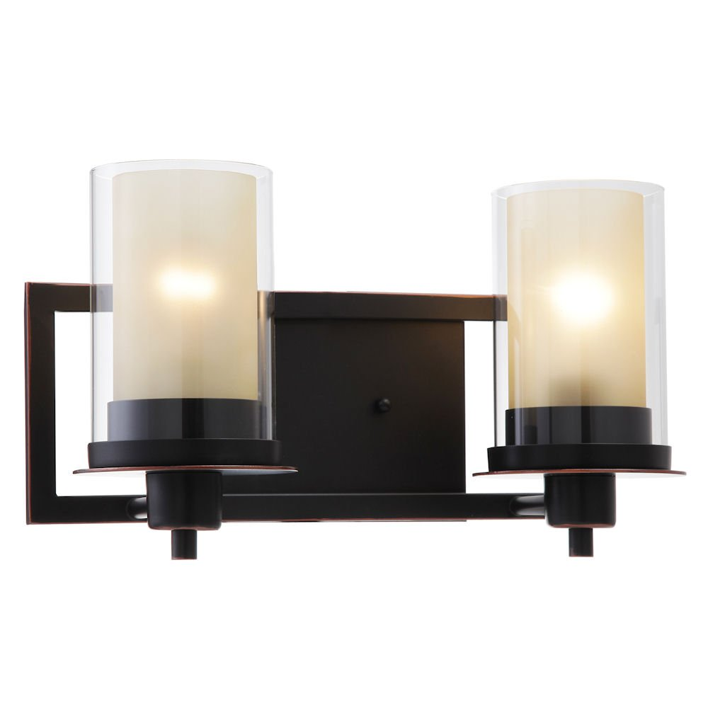 Designers Impressions Juno Oil Rubbed Bronze 2 Light Wall Sconce / Bathroom Fixture with Amber and Clear Glass: 73470