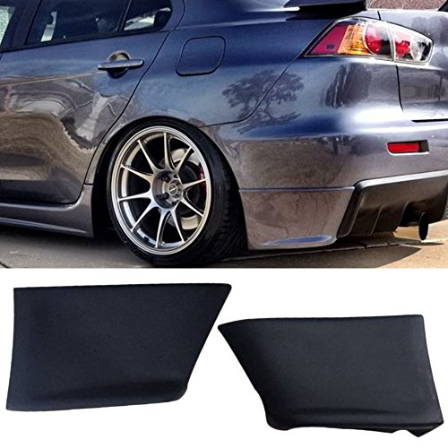 Rear Bumper Lip Fits 2008-2015 Lancer Evolution | EVO Style Black PU Rear Lip Finisher Under Chin Spoiler Underspoiler Splitter Valance Underbody Bumper Fascia Add On by IKON MOTORSPORTS | 2009 2010 ()